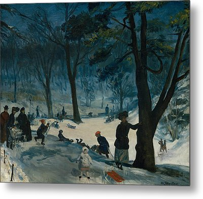 Central Park, Winter Metal Print by William Glackens