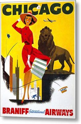 Chicago Vintage Travel Poster Restored Metal Print by Carsten Reisinger