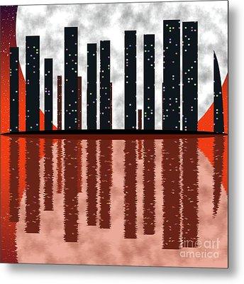 City Skyline At Full Moon Metal Print by Michal Boubin