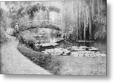 Claude Monet In His Garden At Giverny Metal Print