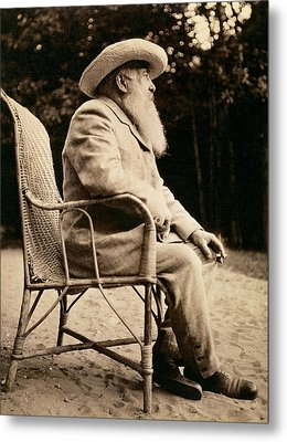 Claude Monet In His Garden Metal Print