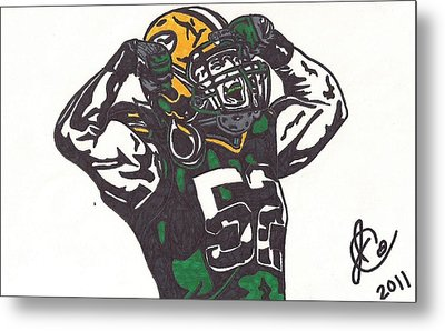 Metal Print featuring the drawing Clay Matthews 2 by Jeremiah Colley
