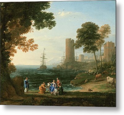 Coast View With The Abduction Of Europa Metal Print by Claude Lorrain