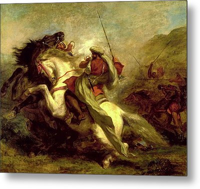 Metal Print featuring the painting Collision Of Moorish Horsemen by Eugene Delacroix
