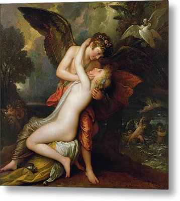 Cupid And Psyche Metal Print by Benjamin West