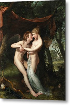 Cupid And Psyche In The Nuptial Bower Metal Print by Hugh Douglas Hamilton