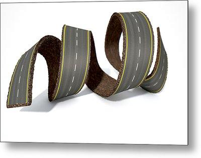 Curled Road Metal Print by Allan Swart