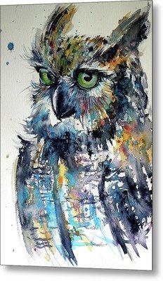 Metal Print featuring the painting Cute Owl by Kovacs Anna Brigitta