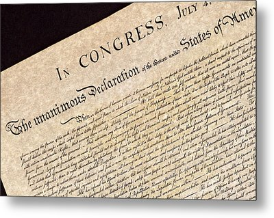 Declaration Of Independence Metal Print by Jack R Perry