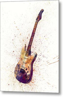 Electric Guitar Abstract Watercolor Metal Print by Michael Tompsett