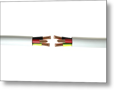 Electrical Cable Cut Metal Print by Allan Swart