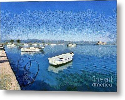 Fishing Boats In Nafplio Town Metal Print