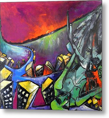 Metal Print featuring the painting Flight Of Death by Kenneth Agnello