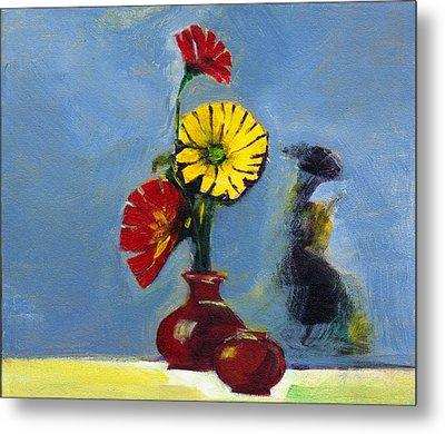 Flowers In Vase Metal Print by Anil Nene