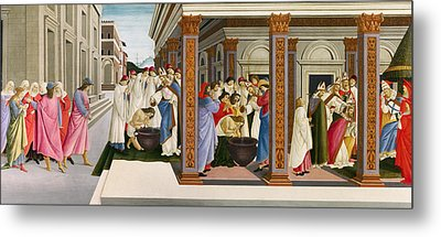 Four Scenes From The Early Life Of Saint Zenobius Metal Print by Sandro Botticelli