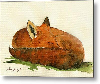 Fox Sleeping Painting Metal Print