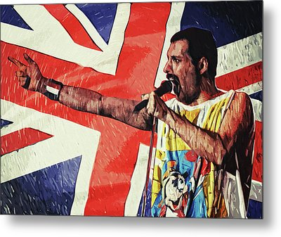 Metal Print featuring the digital art Freddie Mercury by Taylan Apukovska