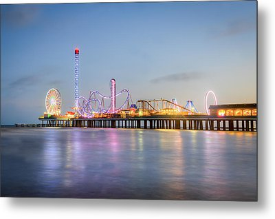 Galveston Pleasure Pier Sunset Metal Print
