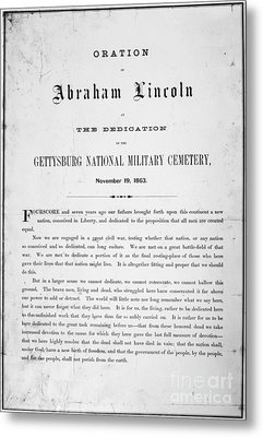 Gettysburg Address, 1863 Metal Print