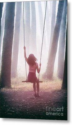 Girl In Swing Metal Print by Carlos Caetano