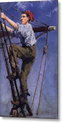 Metal Print featuring the painting Going Aloft by Henry Scott Tuke