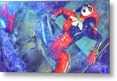 Harley Quinn Fighting Batman - Watercolor Style Metal Print