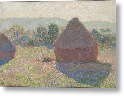 Haystacks Midday Metal Print by Claude Monet