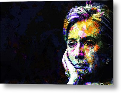 Metal Print featuring the mixed media Hillary Clinton by Svelby Art
