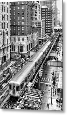 Historic Chicago El Train Black And White Metal Print