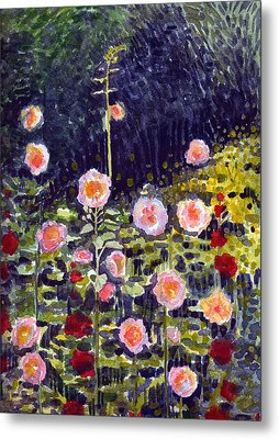 Metal Print featuring the painting Hollyhocks by Katherine Miller