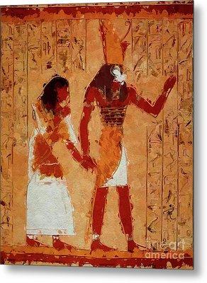 Horus, Egyptian God By Mary Bassett Metal Print