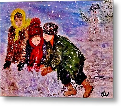 Metal Print featuring the painting Let It Snow..let It Snow..  by Cristina Mihailescu