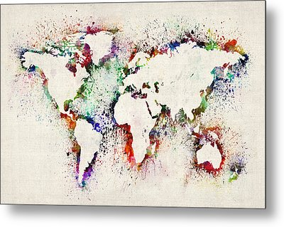 Map Of The World Paint Splashes Metal Print