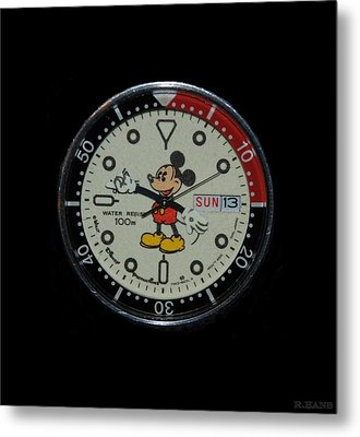 Mickey Mouse Watch Face Metal Print
