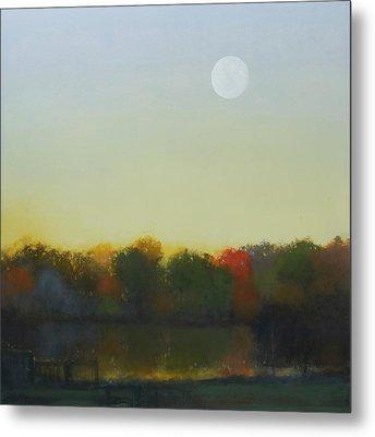 Moonrise-footbridge At White Rock Metal Print by Cap Pannell