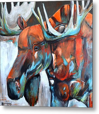 Metal Print featuring the painting Moose by Cher Devereaux