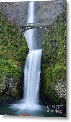 Multnomah Falls Waterfall Oregon Columbia River Gorge Metal Print by Dustin K Ryan