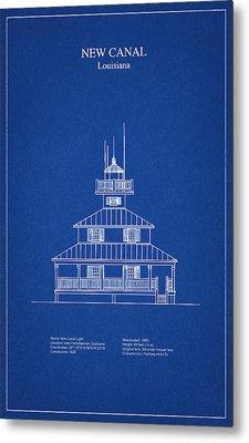 New Canal Lighthouse - Louisiana - Blueprint Drawing Metal Print