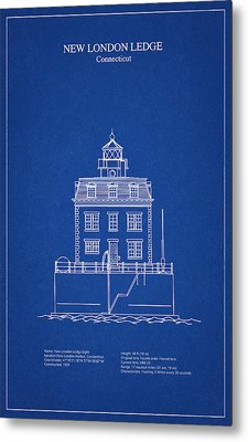 New London Ledge Lighthouse - Connecticut - Blueprint Drawing Metal Print