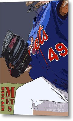 New York Mets Baseball Team And New Typography Metal Print by Pablo Franchi