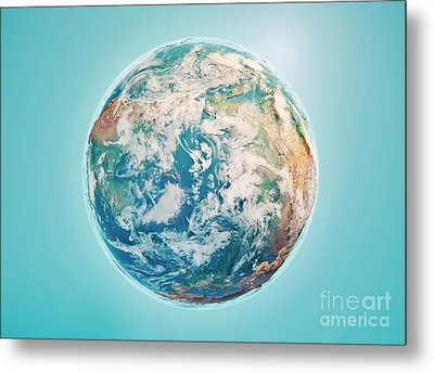North Pole 3d Render Planet Earth Clouds Metal Print