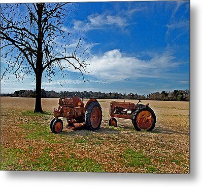 2 Old Tractors And The Tree Metal Print by Michael Thomas