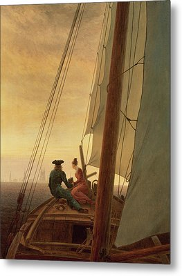 On Board A Sailing Ship Metal Print by Caspar David Friedrich