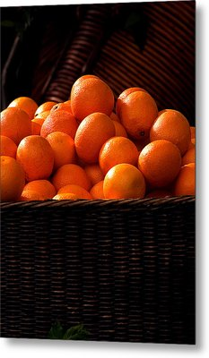oranges in basket Rome italy Metal Print by Xavier Cardell