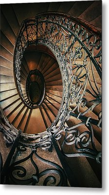 Metal Print featuring the photograph Ornamented Spiral Staircase by Jaroslaw Blaminsky