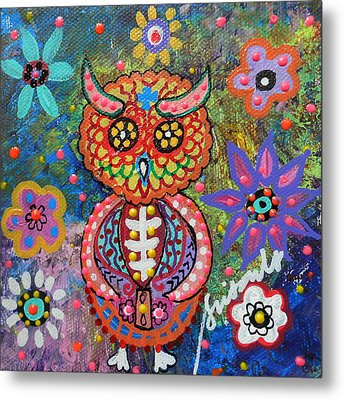 Owl Day Of The Dead Metal Print by Pristine Cartera Turkus