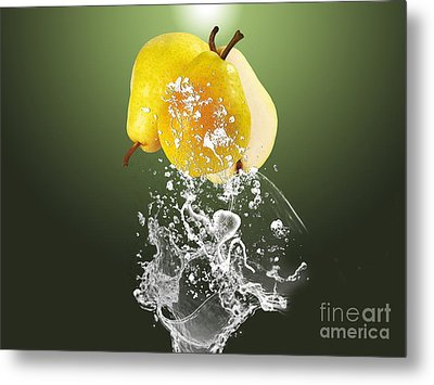 Pear Splash Collection Metal Print by Marvin Blaine