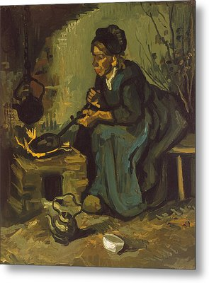Peasant Woman Cooking By A Fireplace Metal Print by Vincent Van Gogh