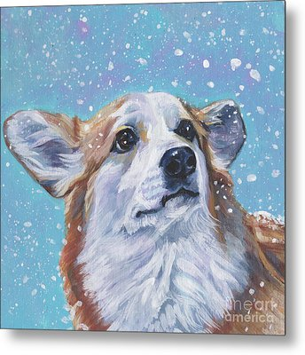 Metal Print featuring the painting Pembroke Welsh Corgi by Lee Ann Shepard