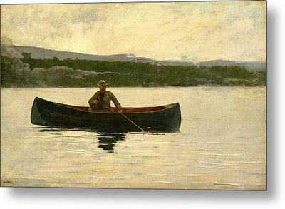 Playing A Fish Metal Print by Winslow Homer